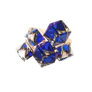 Square candy blue crystal ring
